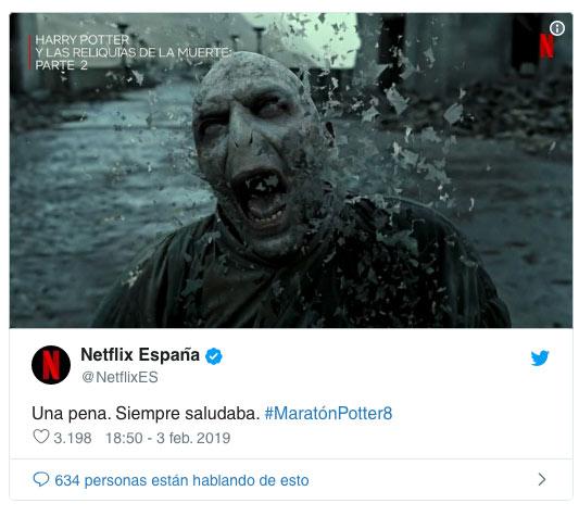 01 Usuario se quejan de Netflix por spoilerar el final de Harry Potter en twitter