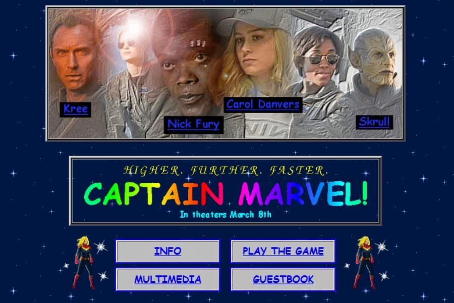 La nostálgica web de Capitana Marvel ambos ambientados en la década de los 90
