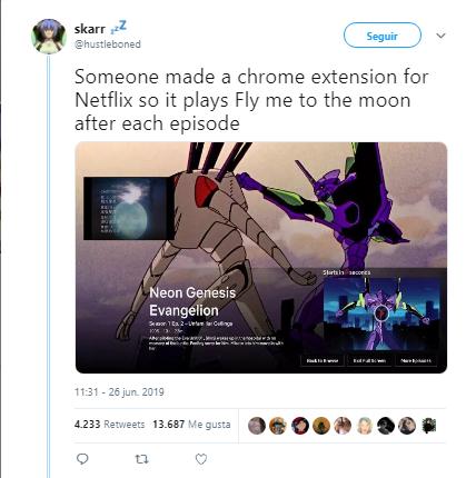 Neon Genesis Evangelion Google arregla ausencia de Fly me to the