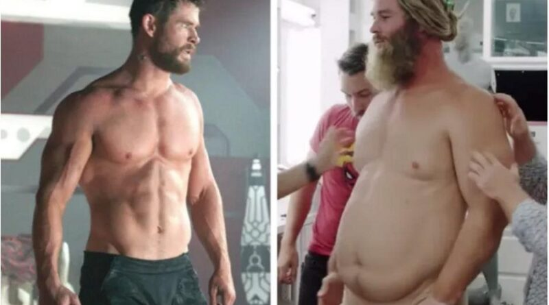 Transformación de Chris Hemsworth en Thor gordo Avengers Endgame